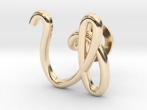 Cursive V Cufflink in 14k Gold Plated Brass