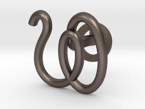 Cursive W Cufflink in Polished Bronzed Silver Steel