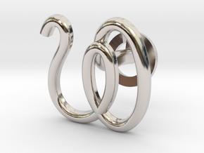 Cursive W Cufflink in Rhodium Plated Brass