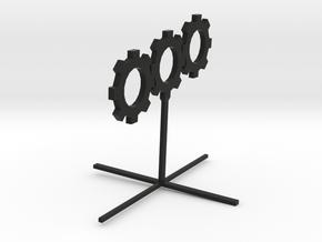 Sprocket_Sculpture 8cm tall in Black Natural Versatile Plastic