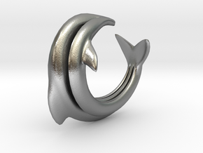 Dolphin Abstract Ring, size 5. Smooth Elegance. in Natural Silver