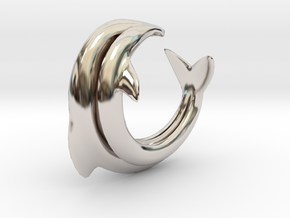 Dolphin Abstract Ring, size 5. Smooth Elegance. in Platinum