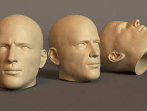Generic Male Head 1/6 scale figure  in White Natural Versatile Plastic: Small