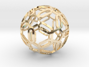 Pentagon Pattern Sphere in 14K Yellow Gold: Medium