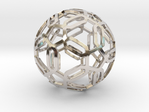 Pentagon Pattern Sphere in Rhodium Plated Brass: Medium