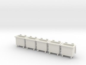 Trash bin with wheels. 1:56 Scale (28mm) in White Natural Versatile Plastic