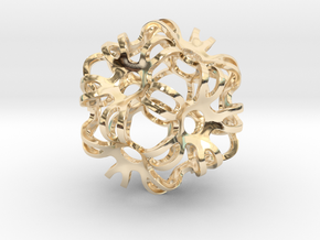Outward Deformed Symmetrical Sphere in 14k Gold Plated Brass