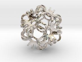 Outward Deformed Symmetrical Sphere in Rhodium Plated Brass