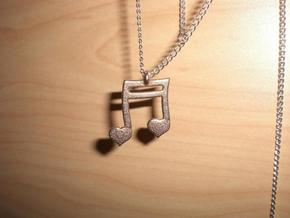 Music Heart Pendant in Polished Bronzed Silver Steel