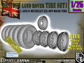 1/25 Land Rover 750x16 Tires and wheels Set001 in Smooth Fine Detail Plastic