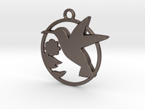 Humming-bird & hibiscus in Polished Bronzed Silver Steel