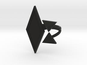 Black Rhombus Ring - Ring Base (with border) in Black Premium Strong & Flexible: 6 / 51.5