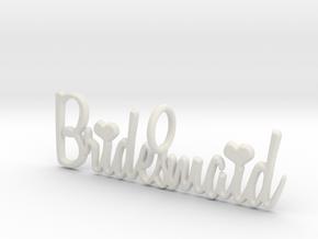 Bridesmaid Heart Pendant in White Natural Versatile Plastic