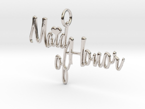 Maid of Honor Heart Pendant in Rhodium Plated Brass