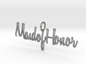 Maid of Honor Necklace Pendant in Natural Silver