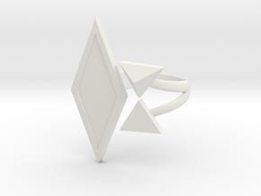 Black Rhombus Ring - Ring Base (with border) in White Premium Strong & Flexible: 10 / 61.5