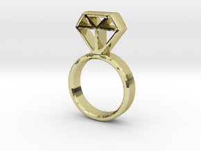 Diamond Ring in 18k Gold Plated Brass