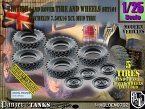 1/25 Land Rover XCL 750x16 Tire and wheels Set101 in Smooth Fine Detail Plastic