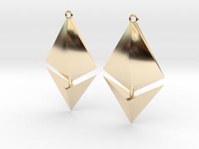 Ethereum Earring Pendants in 14k Gold Plated Brass