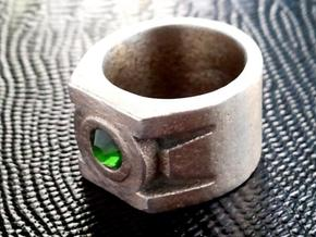 Green Lantern Ring size 12 in Polished Bronzed Silver Steel