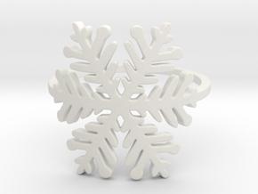 Snowflake ring (size 4) raw silver  in White Natural Versatile Plastic: 4 / 46.5