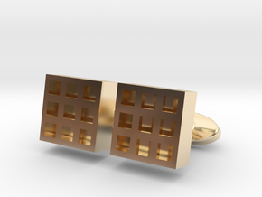 Square Cell Cufflinks in 14k Gold Plated Brass