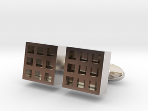 Square Cell Cufflinks in Rhodium Plated Brass