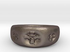 Celtic Cross Ring-sz8 in Polished Bronzed Silver Steel