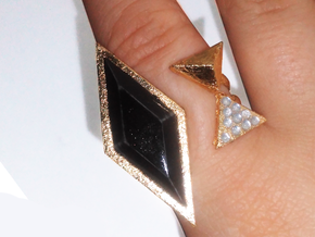 Black Rhombus Ring - Ring Base (with border) in White Strong & Flexible: 7 / 54