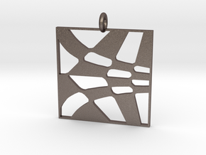Hatching Chevrons in Polished Bronzed Silver Steel