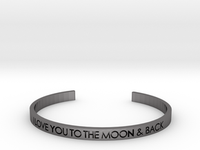 Love You to The Moon & Back Bracelet in Polished Nickel Steel: Small