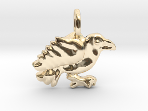 Raven Pendant in 14k Gold Plated Brass