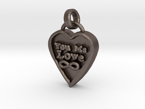 You Me Love Forever in Polished Bronzed Silver Steel