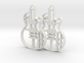 Les Paul Earrings in different plastic in White Natural Versatile Plastic