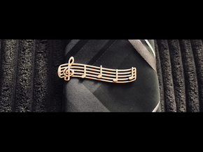 Treble Clef Tie Clip in Polished Brass