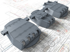"1/350 HMS King George V 14"" Turrets in Smooth Fine Detail Plastic"