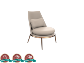 Miniature Aurora Armchair - Cantori in White Natural Versatile Plastic: 1:24