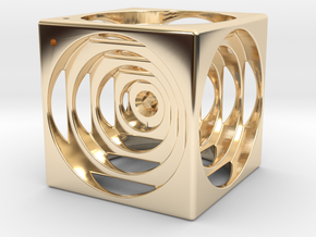 think outside the cube in 14K Yellow Gold