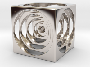 think outside the cube in Rhodium Plated Brass