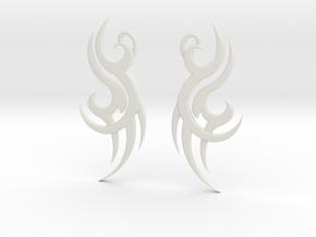 """Tribal """"Wind spirit"""" Earrings in White Natural Versatile Plastic"""