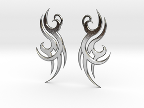 """Tribal """"Wind spirit"""" Earrings in Polished Silver"""