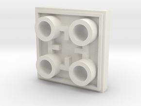 double sided 2x2 plate - Lego compatible in White Natural Versatile Plastic