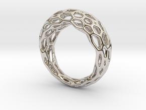Ring Voronoi #1 in Rhodium Plated Brass