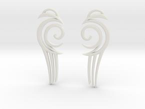 "Tribal ""Water spirit"" Earrings in White Natural Versatile Plastic"