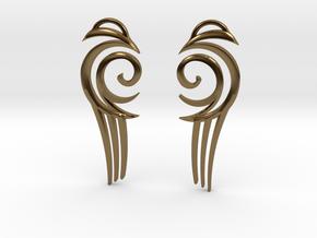 "Tribal ""Water spirit"" Earrings in Polished Bronze"