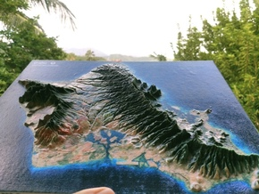 Oahu Map, Hawaiian Islands in Glossy Full Color Sandstone