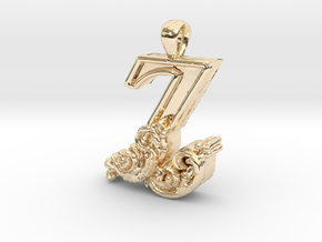 Scroll Letter Z – Initial Pendant in 14k Gold Plated Brass