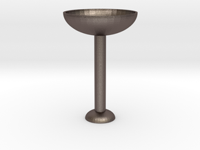 Glass Cup in Polished Bronzed Silver Steel: Medium