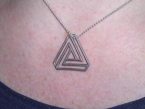 Tribar (Penrose Triangle) in Polished Silver
