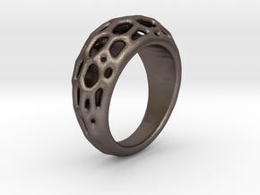 Ring Voronoi #2  in Polished Bronzed Silver Steel